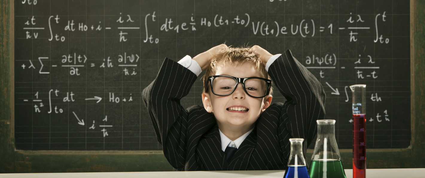 young elegant clever chemistry student or scientist with difficu